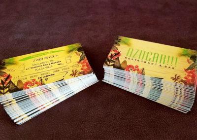 Papelería: tarjetas de presentacion para restaurante Azúcar