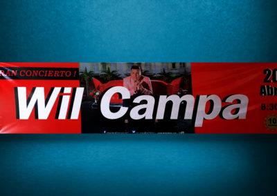 Grandes formatos: diseño e impresión sobre lona, de gigantografía publicitaria para cantante de música popular cubana Will Campa