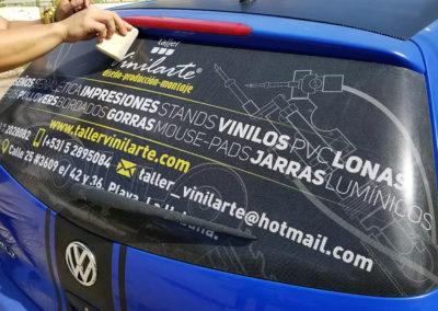 Grandes formatos: impresión de publicidad sobre material microperforado para un vehículo automotor