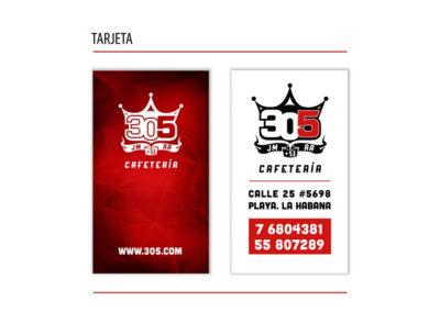 Identidad: Cafetería 305, tarjeta