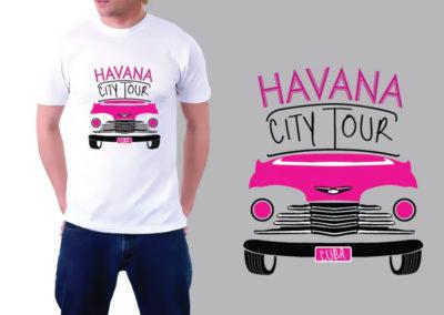 Impresión textil: pulóver con gráfica promocional Havana City Tour