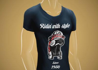 Impresión textil: pulóver con gráfica promocional Ridin' with Style