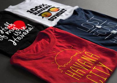 Impresión textil: pulóveres con distintos diseños de gráficas promocionales