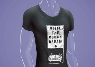 Impresión textil: pulóver con gráfica promocional Visit the Cuban Dream